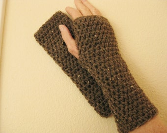 Fingerless Gloves Crocheted Taupe - Crochet Fingerless Gloves - Brown Fingerless Gloves  - Crochet Wristlets - Fingerless Gloves