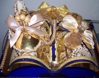 Baby Shoe, Baby Bootie, in Gold, Cream, and Blue -Baby Congratulations - 3D Embellished Greeting Card  - Crafted by Hand