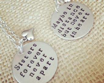 Sister jewelry-sister necklace set-hand stamped sister jewelry-gift for sister-family jewelry-gift for her-necklace set-sisters forever