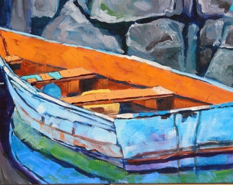 Art, Oil Painting, Boat Painting, Impressionist Boat Painting, Original Oil painting by Rebecca Beal