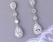 Chandelier Bridal Earrings, Crystal Teardrop Earrings, Bridal Jewelry, Clip on option, Bridesmaids Earrings, TAMARA S 2