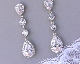Crystal Teardrop Earrings, Wedding earrings, Clip on Earring option, Chandelier Bridal Earrings,  Bridesmaids Earrings, TAMARA S2