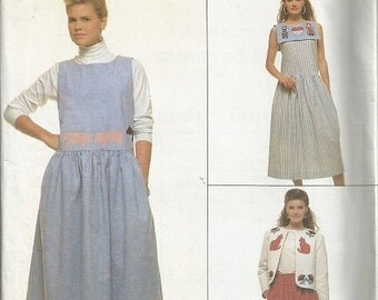 Vintage Simplicity 9054 Crafts Jumper and Skirt Pattern with Appliques  SZ 10-14  CLEARANCE ITEM