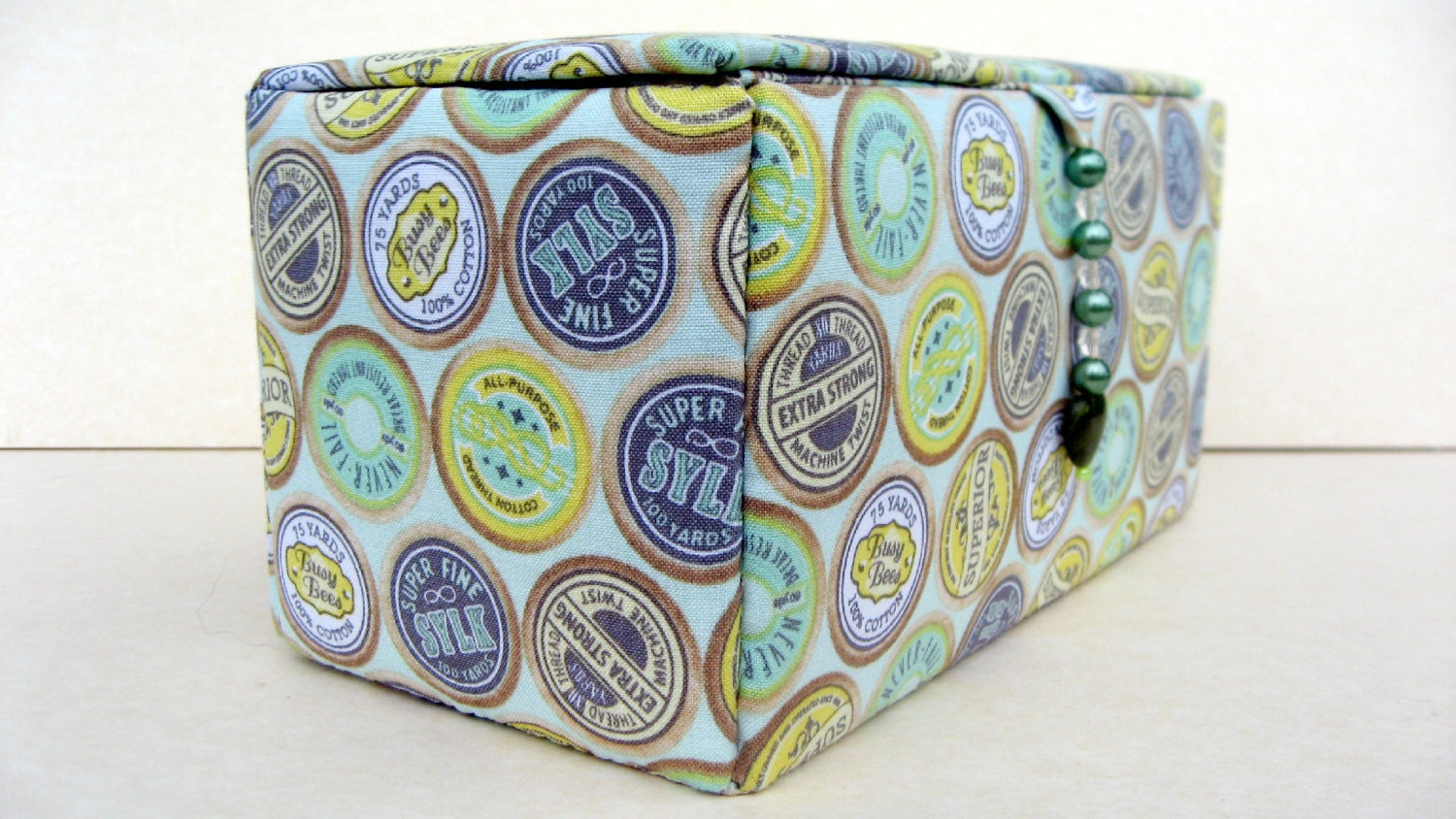 Fabric covered sewing storage box or craft box for Fabric covered boxes craft
