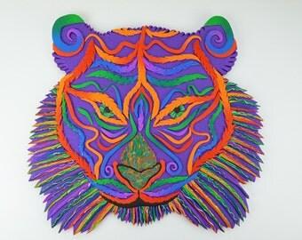 Rainbow Tiger Polymer Clay Wall Art or Clock in Crazy Stripe Rainbow