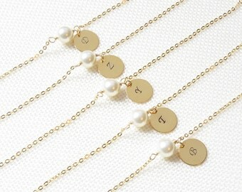 Personalized Pearl and Initial Bracelet | Personalized Gold Bracelet | Pearl and Initial Bracelet | Personalized Bridesmaids Bracelet