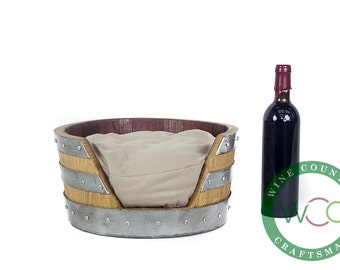Pet Bed - CIRCEN Wine Barrel Pet Bed // Cat or Dog Bed // Pet lovers gift // Wine Barrel Furniture // Upcycled // Customizable
