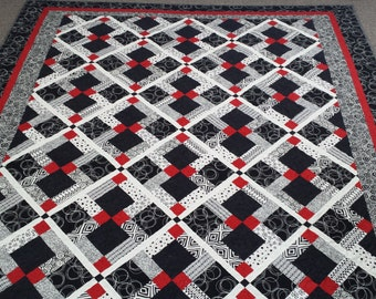 Gorgeous Black, white and red, custom made Queen size quilt, queen bedding