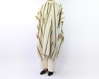 VINTAGE Striped Cape Grey Wool