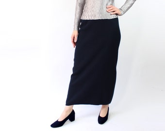 VINTAGE Navy Skirt Knit Long 1990s Maxi