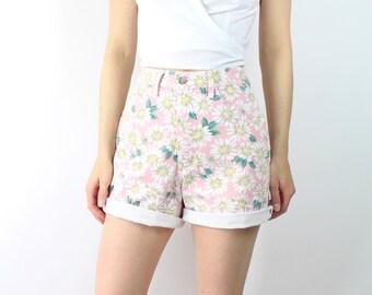 VINTAGE Floral Denim Shorts Pink Sunflower High Waist