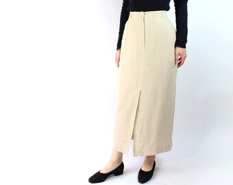 VINTAGE 1990s Linen Skirt Long Minimalist Slit