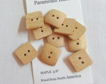 "Buttons Hand Crafted Square Wood Buttons 5/8"" Diameter Buttons Set of 10 Buttons  Maple Wood Buttons Sewing Buttons Knitting Buttons"