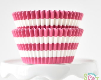 Rugby Stripe Pink BakeBright GREASEPROOF Baking Cups Cupcake Liners | ~30