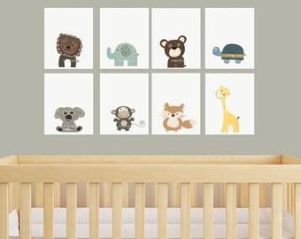 Safari Nursery Art, Set of Print, Animal Decor, Elephant, Giraffe, Bear, Lion, Fox, Monkey, Jungle Nursery, Gender Neutral Baby Art, Jungle