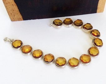 Faceted bracelet in Baltic Amber and Sterling Silver