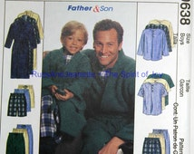 Size Boys 3 4 5 6 7 8 Mens 34 36 38 40 42 44 46 48 McCalls Pajamas Pjs Robe Top Pants Shorts Shirt  Uncut Sew Sewing Pattern