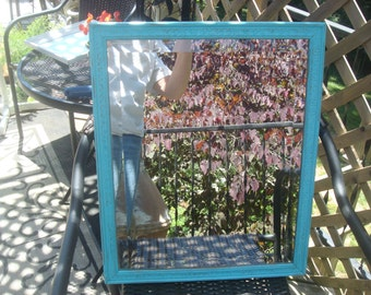 Distressed turquoise mirror