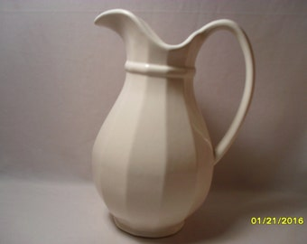 Clean Look Heavy White Fluted Sides Stoneware Water Table Pitcher