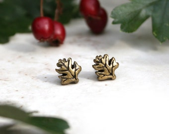 Hawthorn Leaf Earrings, Leaf Stud Earrings, Gold Post Earrings, Hawthorn Tree, Hawthorn Jewelry, Woodland Jewellery, Hawthorn Earrings