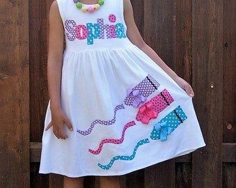 Personalized Crayon Dress / Back to School Dress / Crayon Applique / Toddler Youth Girl Sizes