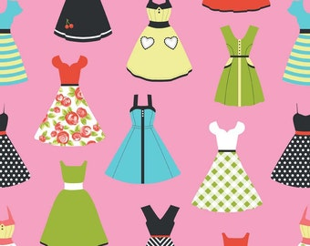 Dresses in Pink Novelty Fabric-  by Riley Blake - Half Yard