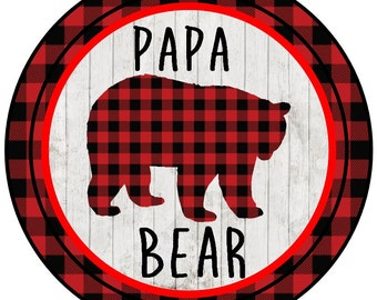 Buffalo plaid Papa Bear, Mama Bear and Baby Bear  with or without a bow with wood bkg iron on at Giggles to Go