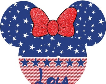 Minnie Mouse Patriotic Fourth of July iron on at giggles to go