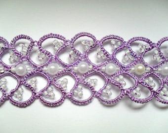 Purple choker necklace, purple choker necklace with white beads, tatted choker necklace , tatting jewelry