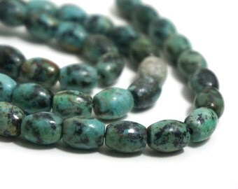 African Turquoise Jasper Beads, 10mm x 8mm oval barrel natural gemstone, Full & Half strands available  (1242S)