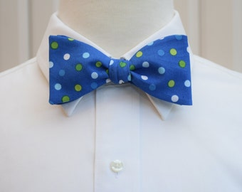 Men's Bow Tie in cobalt blue with greens and white polka dots (self-tie)