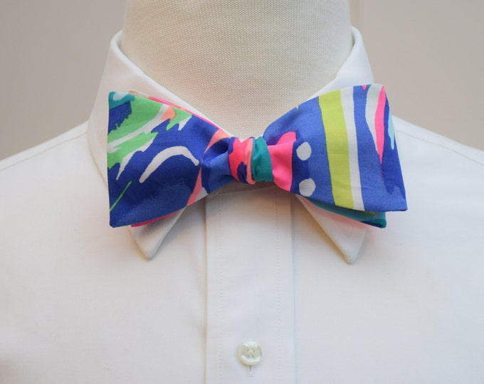 Men's Bow Tie, Lilly Exotic Garden print, neon brights, self-tie bow tie, groomsmen's gift, wedding party wear, formal menswear, multi color