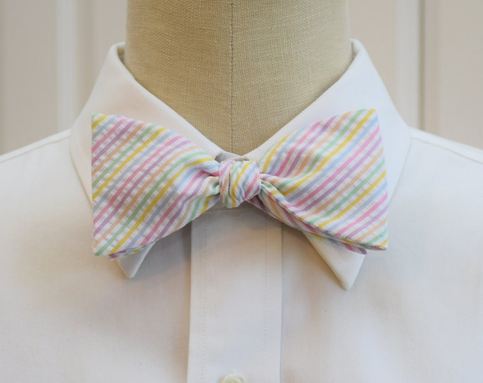 Men's Bow Tie, pastel seersucker stripes, wedding bow tie, groom's wear, groomsmen gift, pastel bow tie, wedding accessory, self tie bow tie