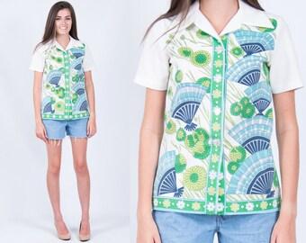 Vintage 1970s Retro Fan Floral Print Button Down Shirt // Green Lime Navy Blue Aqua Cream Disco Pointed Collar // Medium // FREE SHIPPING
