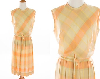 Vintage 1950s Sherbet Plaid Pleated Skirt Dress // Orange Marmalade Tan Yellow Khaki Mad Men Preppy // Size Medium // FREE SHIPPING
