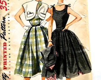 60s Simplicity 3788 Full Skirt Evening Dress, Sleeveless Below Knee Length and Bolero Size 14 Bust 32
