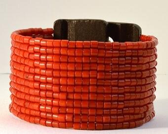 Cuff Coral Woven Bracelet with Black Wooden Clasp, Contemporary Woven Bracelet, Peyote Pattern Woven Bracelet