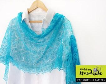 Lace shawl knitting pattern - Addi Shawl