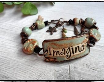 Unique Artisan Handmade Bracelet Art Beads Imagine word Bracelet Bird Charm