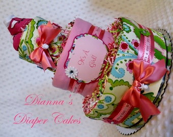 Baby Diaper Cake Paisley Girls Shower Gift Centerpiece SELECT FABRIC