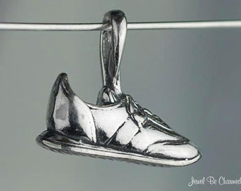 Sterling Silver Sneakers CHARM or PENDANT Walking or Running Shoe .925