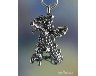 Sterling Silver Dragon Charm Fantasy or Mascot 3D Dragons Solid .925