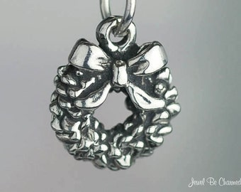 Christmas Wreath Charm Small Sterling Silver Holiday Decor Solid .925