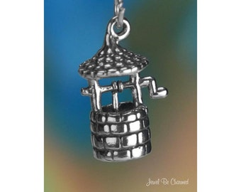 Sterling Silver Wishing Well Charm Water or Making Wishes 3D Solid 925