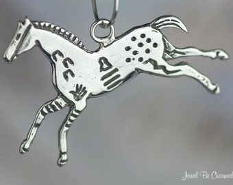 Sterling Silver Native American Petroglyph Horse Charm Solid .925