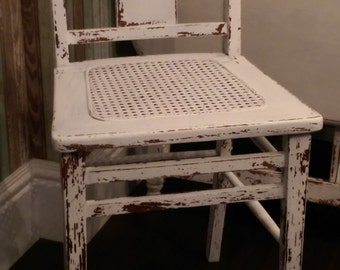 Vintage Distressed White Cane Chair/ Small Wood Chair/Desk Chair