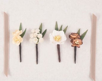 Custom Order Wedding Boutonnieres // Grooms Groomsmen Lapel // Mulberry Paper Flower // Vintage Wedding // Destination Everyday