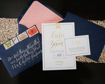 Dainty Heart Banner and Gold Foil Script Wedding Invitation Suite - Digital Files