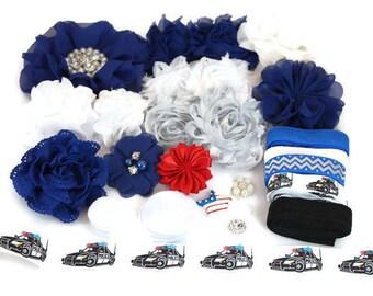 Headband Kit - Police Officer  - DIY Headband Kit - Baby Shower Headband Bar - Police Officer Baby Shower - Police Officer Baby