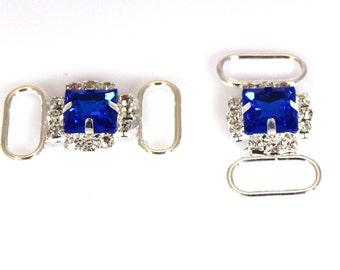 Royal Blue Headband Connector  - Set of 2 - Rhinestone Headband Accessories - Wholesale Headband Supplies